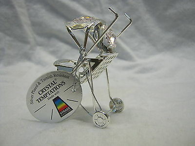 New Silver Plated Pink Crystal  Pram Christening Gift