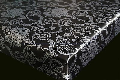 Silver On Black Floral Damask Pvc Vinyl Tablecloth Dining Kitchen Table Oilcloth