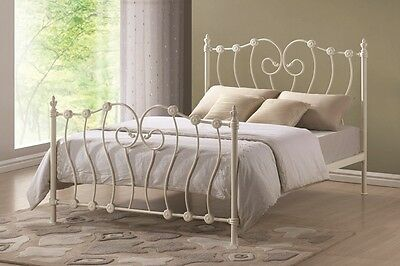 Inova Victorian Style Ivory Metal Bed in Single, Double and King Sizes