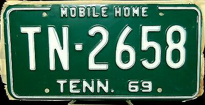"""Rare 1969 Tennessee """"mobile Home"""" License Plate-Nos-Never Used-Near Mint"""