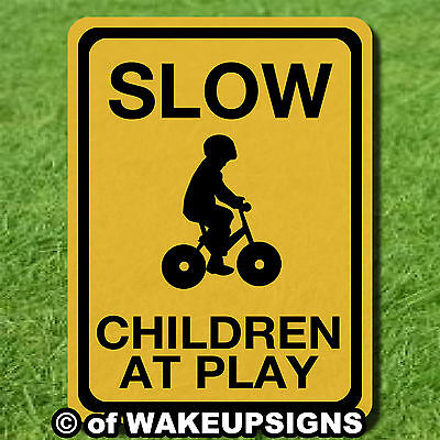 Caution Slow Down Children At Play Sign Metal Aluminum Or Pvc 9 By 12 And Larger