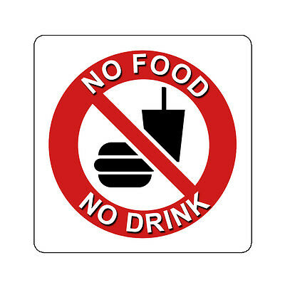 No Food Or Drink Prohibited Decal Sticker Sign Many Sizes 4 Inch And Up