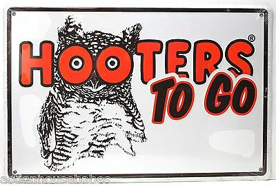 """HOOTERS TO GO""  18"" X 12"" Metal Sign - Man Cave - Bar - Restaurant Logo - NEW"