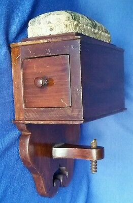 Antique 19 c Sewing Box w Pin Cushion Drawer Wall Wood Fret Notion