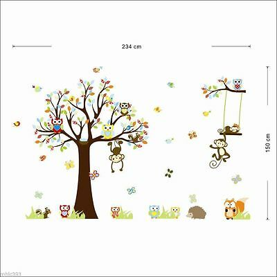 Wall Decal Cute Animals Monkey Owl Tree Art Stickers Kids Nursery Removable AU