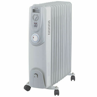 Heller HOIL11T 2400W 11 Fin Oil Heater Column Electric Thermostat Control/Timer