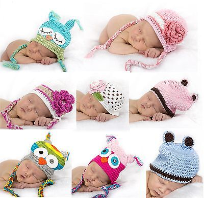 Baby Beanie Beanies Hat prop owl flowers ears crochet cotton baby shower gift