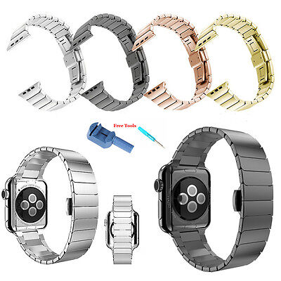 Stainless Steel Butterfly Lock Watch Band Strap For Apple Watch iWatch+ Tool Lot