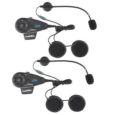 2x V5 BT Motorcycle Helmet Bluetooth Intercom FM 5 riders real time talk 1200m