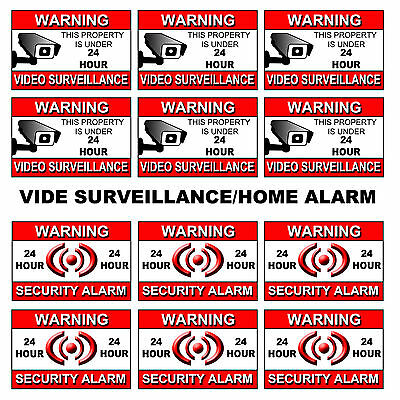 6 video surveillance warning sticker SIGN cctv decal caution security home alarm