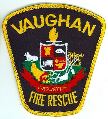 Vintage Vaughan Fire Department Uniform Patch Ontario ON Canada - Gold