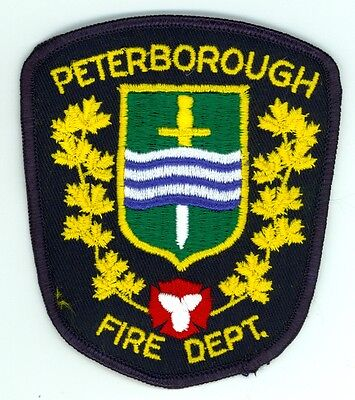 Vintage Peterborough Fire Department Uniform Patch Ontario ON Canada - Gold
