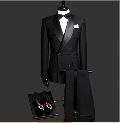 New Black Wedding Groom Suits Double Breasted Jacket Shawl Lapel Men Tuxedos
