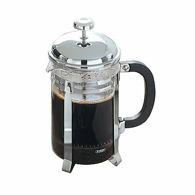 Brand New Premier Housewares 6 Cup Pyrex Glass/ Chrome Plated Cafetiere