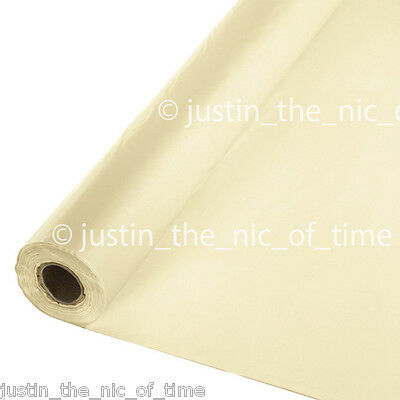 100ft VANILLA CREME  IVORY Plastic Buffet Banquet Roll Party Wedding Tablecover