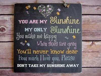 Handmade Wall Plaque Chalk board Effect You Are My Sunshine Gift