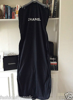"""Chanel Black Coated Canvas Gown Double Suit Carrier 68"""" New!!"""
