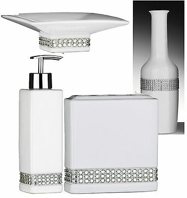 Bathroom set white ceramic with bamboo stand dispenser s for Bella lux bathroom accessories uk