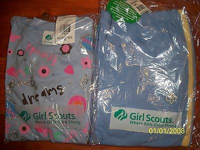 NWT 2 pc set Brownie Girl Scout set Blue T-shirt & track pants Choose L/L+ or XL