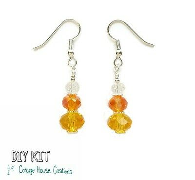 Crystal Candy Corn DIY Beaded Earring & Jewelry Making Instruction Kit w/ photos