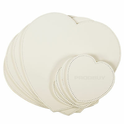 Set of 4 Placemats & Coasters Cream Faux Leather Heart Table Place Settings Mats