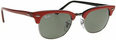 72ccb72367754 Ray Ban Clubmaster Sunglasses Rb 2156 955 Red  Gunmetal Frame Grey Lens 49mm