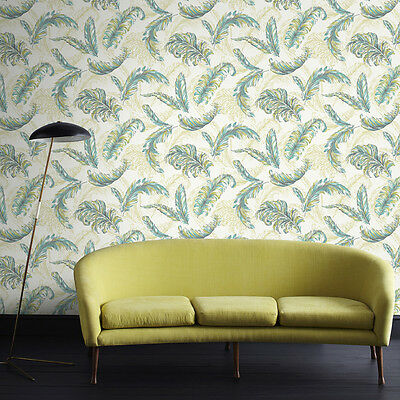 32-947 Gilded Feather Green Teal Glitter & Sparkle Wallpaper by Julien MacDonald