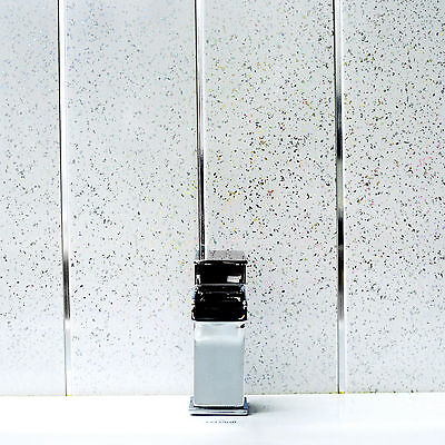 10 White Sparkle Waterproof Bathroom Cladding Panels with Twin Chrome PVC