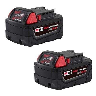Milwaukee 48-11-1852 M18 REDLITHIUM XC 5.0 Extended Capacity Batteries, 2-Pack