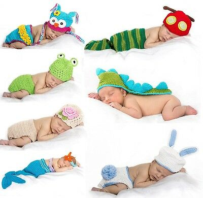 Baby crochet beanie beanies newborn photography prop costume outfit set animal