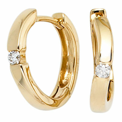 Creolen 585 Gold Gelbgold 2 Diamanten Brillanten 0,08ct. Ohrringe Goldcreolen