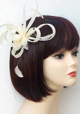 Ivory Cream Fascinator Comb Hair Flower Feather Wedding Ladies Day Races UK