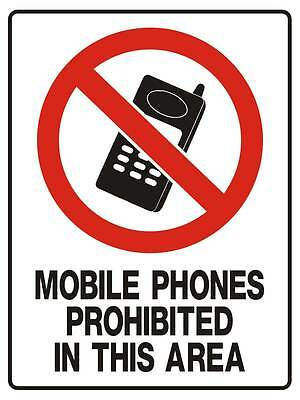 "Safety Sign ""DANGER MOBILE PHONES PROHIBITED 5mm corflute 300MM X 225MM"""