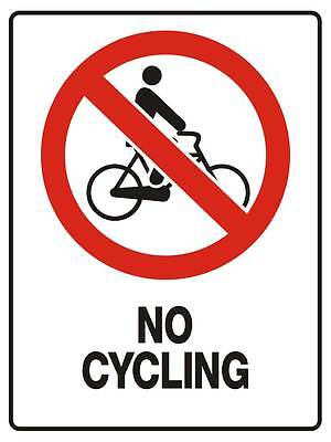 "Safety Sign ""NO CYCLING 5mm corflute 300MM X 225MM"""