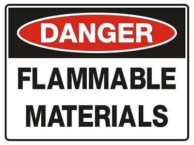"Safety Sign ""DANGER FLAMMABLE MATERIALS 5mm corflute 300MM X 225MM"""