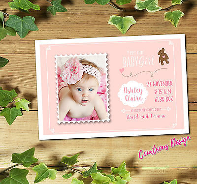 Personalised Birth Announcement Cards / Baby Boy or Girl Gloss cards + Envelopes