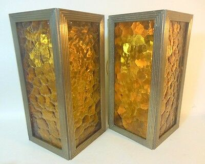 MCM Pr Lightcraft California 1963 Wall Sconces Original Amber Panels Deco