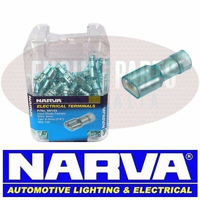 NARVA CRIMP TERMINALS INSULATED BLADE FEMALE BLUE 4mm PACK OF 100