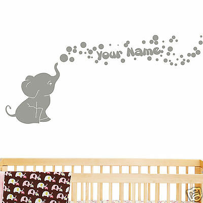 Elephant Bubbles with Personalized Name Baby Wall Decal Viny Nursery Room Decor