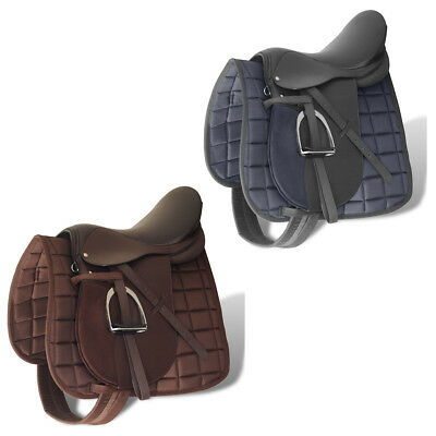 "New Horse Riding Saddle Set 5-in-1 Trail Racing Black/Brown 16"" 17.5"" Selectable"