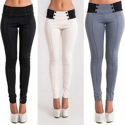 Womens Pencil Pants Summer Stretchy Slim Capris White Skinny Leggings Trousers