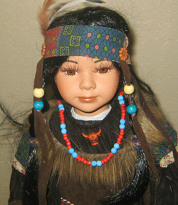 Beautiful Young Indian Maiden Porcelain Doll In Dk. Brown Outfit & Sun Catcher