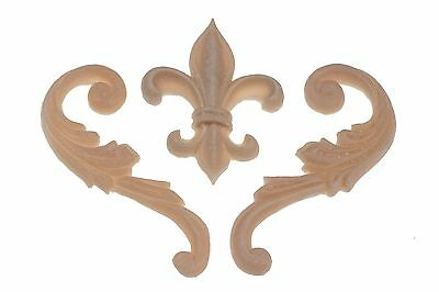 French Provincial Shabby Chic Fleur De Lys and Scroll Set Applique Molding