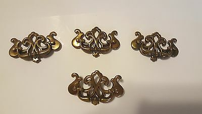8 Peice.  4 Chippendale Style Drawer Pull Handle  &  4 Knobs  Brass or finish
