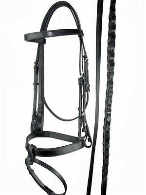 Flat Black Leather Weymouth Double Bridle + Reins Cob or Full Size