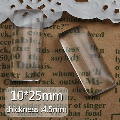 50Pcs 10*25MM Clear Rectangular Flat Back Crystal Glass Dome Cabochons C4641