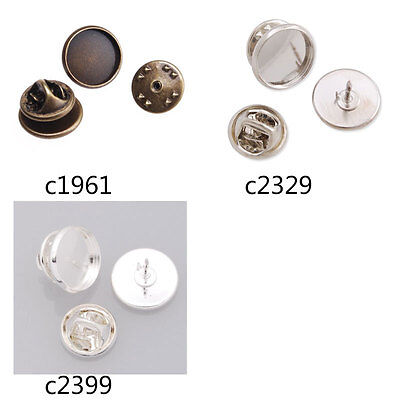 50Pcs 12MM Round Bezel Tie Tac Clutch Brooch Pin Blank Bases Brooch Findings