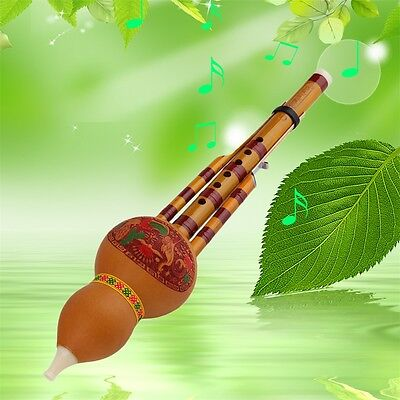 Chinese Yunnan Hulusi Gourd Flute Ethnic Musical Instrument With Gift Box BG