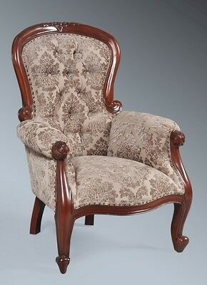 Solid Mahogany Mocha Damask Victorian Period Traditional Grandfather Arm Chair