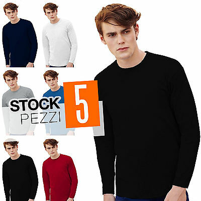Pacco Stock 5 Magliette Manica Lunga Cotone Uomo Fruit of The Loom Valueweight